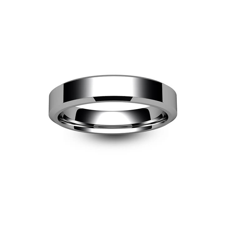 9ct White Gold Chamfered Edge Wedding Ring