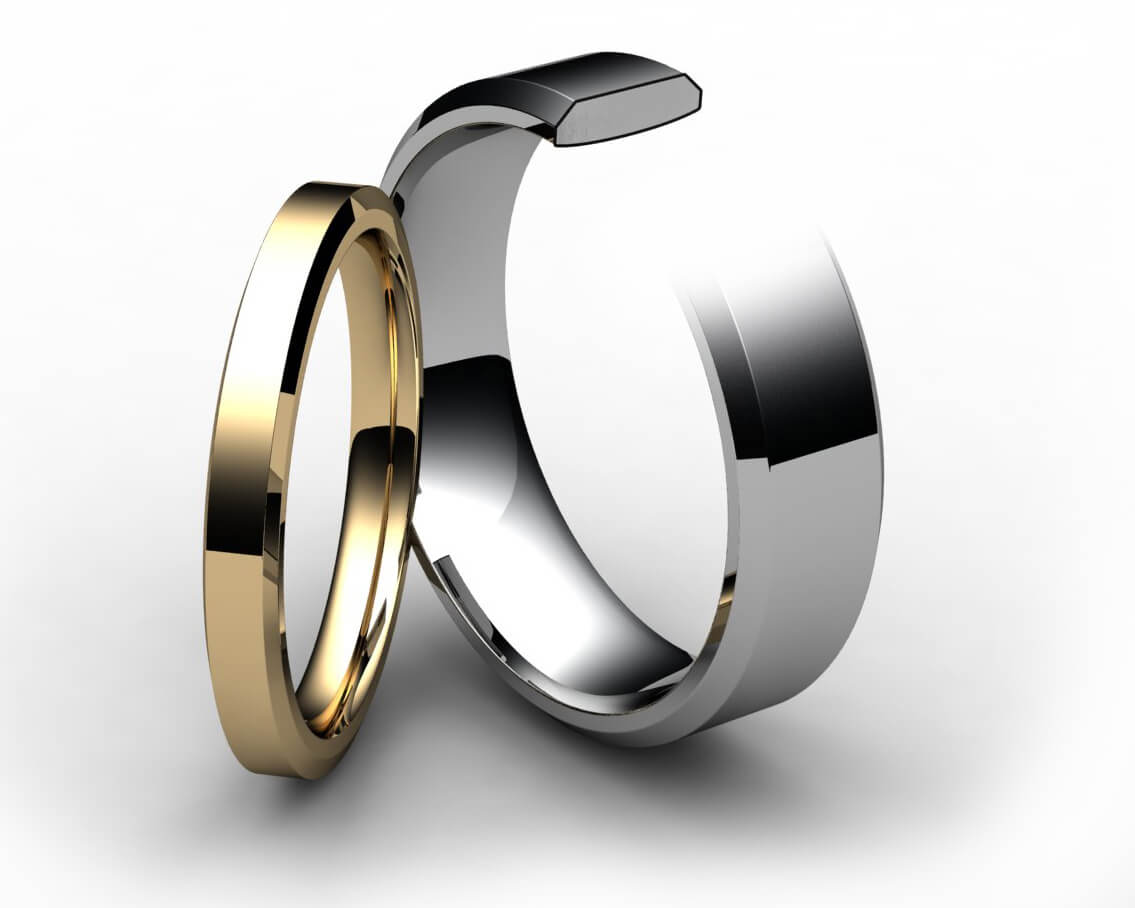 Platinum Chamfered Edge Wedding Ring