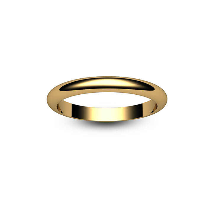 18ct Yellow Gold D Shape Wedding Ring