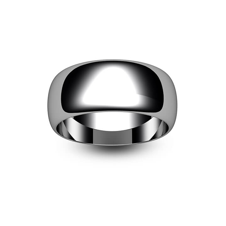 18ct White Gold D Shape Wedding Ring