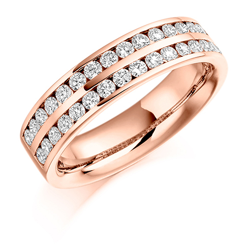 Half Set Double Channel Diamond Ring