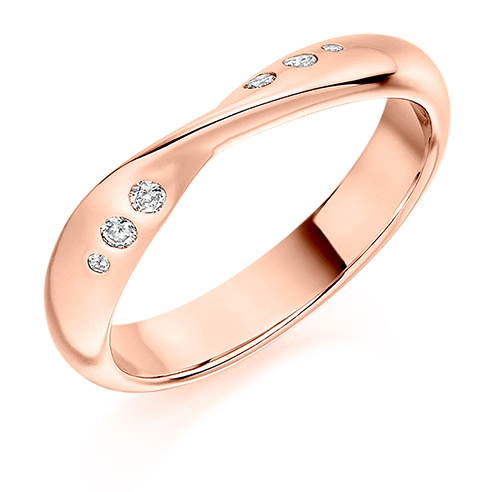 Flush Set Twist Diamond Ring