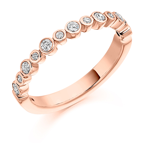 Alternating Bezel Set Diamond Ring